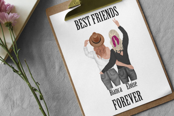 Best Friends Clipart,Besties Clipart, Graphic Preview