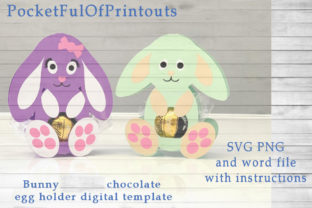 Bunny Small Digital Template Choc Holder Graphic 3D SVG By PocketFulOfPrintouts