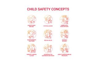 Print on Demand: Child Safety Red Gradient Concept Icons Graphic Icons By bsd studio
