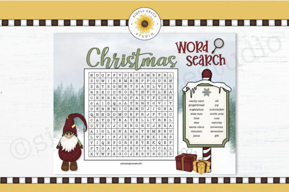 Christmas Word Search Graphic Teaching Materials By Simple Grace Studio
