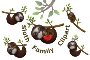 Cute Sloths, Sloth Family Graphic Illustrations By Iva Art