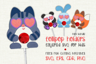 Print on Demand: Cute Animals Lollipop Holders SVG Graphic 3D SVG By Olga Belova