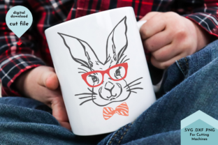 Print on Demand: Easter Bunny Line Art - Bowtie, Rabbit Graphic Crafts By Lettershapes
