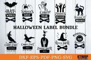 Print on Demand: Halloween Label Bundle Graphic Crafts By KtwoP