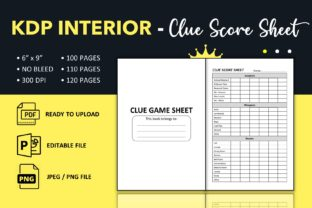 Print on Demand: Clue Score Sheets Book - KDP Interior Graphic KDP Interiors By KDP King