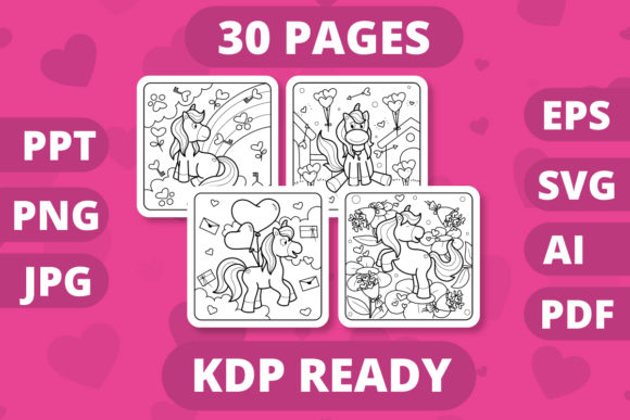Print on Demand: KDP Valentines Day Unicorn Coloring Book Graphic Coloring Pages & Books Kids By MikeToon Studio