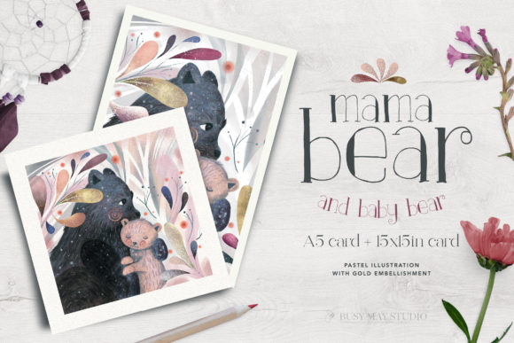 Print on Demand: Mama Baby Bear Pastel Card Wall Art Gold Graphic Illustrations By Busy May Studio