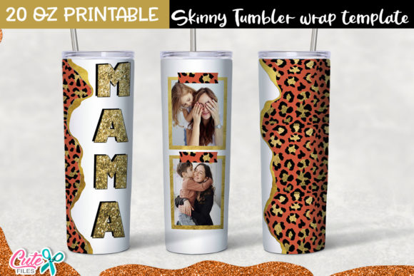 Red and Gold Leopard Tumbler Sublimation Graphic Print Templates By Cute files
