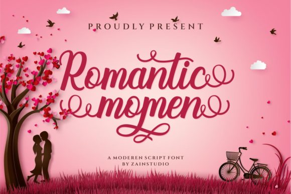 Print on Demand: Romantic Momen Script & Handwritten Font By zainstudio