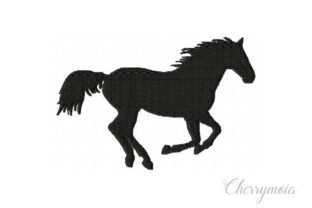 Running Horse Silhouette Horses Embroidery Design By CherrymoiaEmbroidery