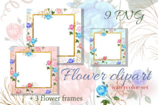 Square Frames Watercolor Flower Clip Art Graphic Illustrations By Iva Art