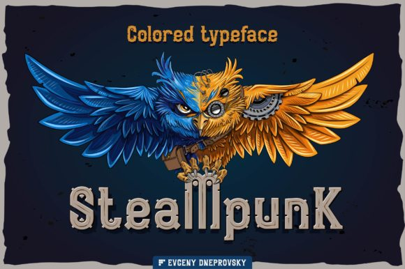 Print on Demand: Steampunk Color Fonts Font By dsfractal