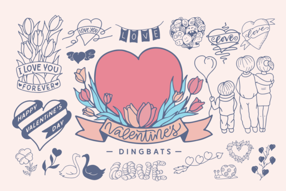 Print on Demand: Valentine's Dingbats Dingbats Font By Situjuh