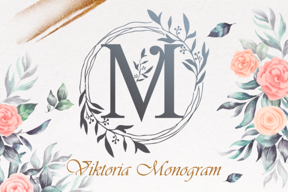 Print on Demand: Viktoria Monogram Decorative Font By figuree studio