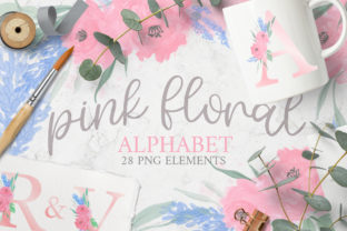 Watercolor Floral Alphabet PNGs Graphic Illustrations By Brushed Rose