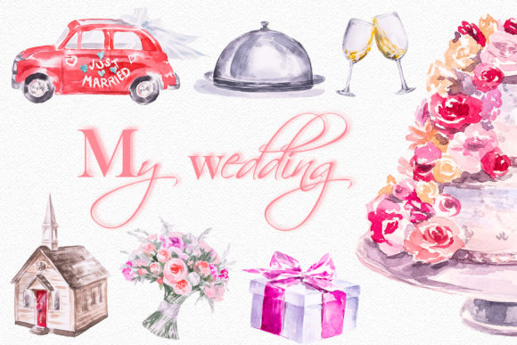 Watercolor My Wedding Clipart Set Graphic Illustrations By artcreationsdesign