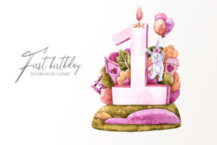 Print on Demand: Watercolor First Birthday Bunny Clipart. Graphic Illustrations By Tiana Geo