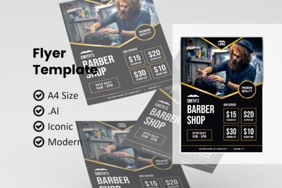 Print on Demand: Barbershop Flyer Template Graphic Print Templates By rivatxfz