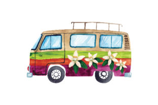 Campervan Watercolour Designs & Drawings Craft Cut File By Creative Fabrica Crafts