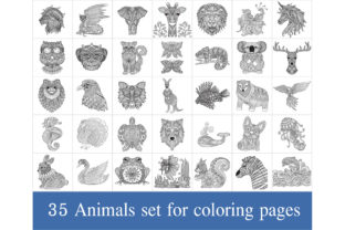 35 Animals Coloring Pages Graphic Coloring Pages & Books Adults By somjaicindy