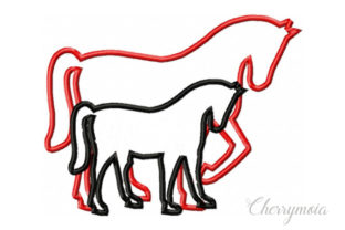 Applique Mom and Baby Horse Horses Embroidery Design By CherrymoiaEmbroidery
