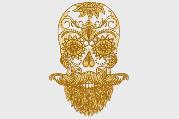 Bearded Sugar Skull Mexico Embroidery Design By DNE embroidery