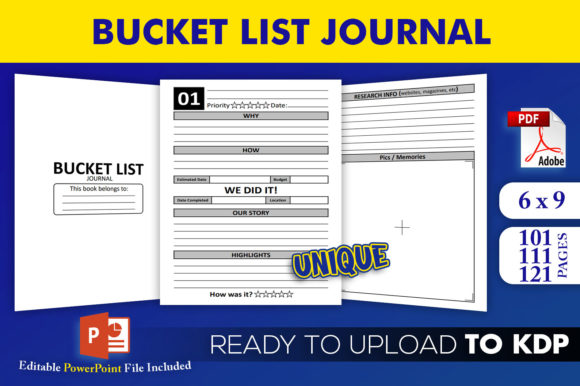 Print on Demand: Bucket List Journal | KDP Interior Graphic KDP Interiors By Beast Designer