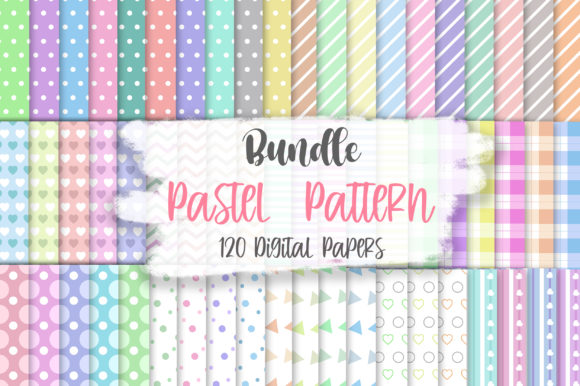 Bundle Pastel Pattern Digital Papers Gráfico Moldes Por PinkPearly