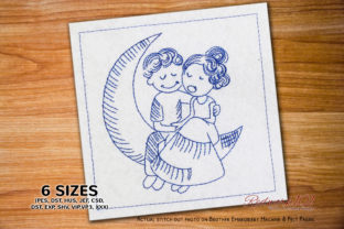 Couple Sitting on Moon Valentine's Day Embroidery Design By Redwork101