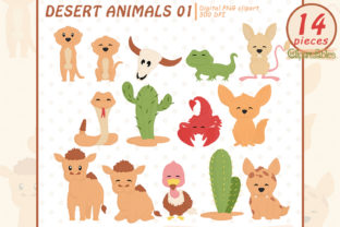 Cute DESERT ANIMALS Digital Stamps Graphic Illustrations By clipartfables