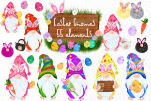 Print on Demand: Easter Bunny Gnomes, Gnomes Clipart Graphic Illustrations By vivastarkids