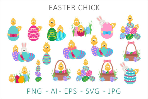 Print on Demand: Easter Chick Clipart Graphic Illustrations By AS Digitale