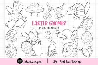 Easter Gnomes Digital Stamps Clipart Graphic Illustrations By CatAndMe