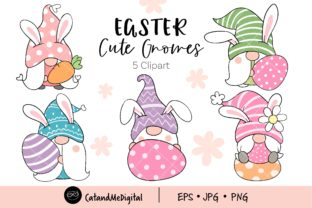Easter Bunny Gnomes Clipart. Graphic Illustrations By CatAndMe