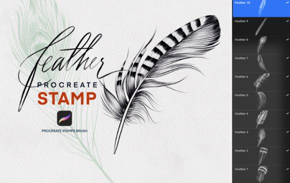 feather stamp brush