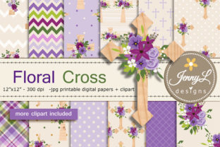 Floral Cross Digital Paper and Clipart Graphic Patterns By jennyL_designs