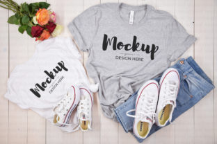 Grey Mommy and Me Tshirt Mockup Graphic Product Mockups By MyMockupStudio