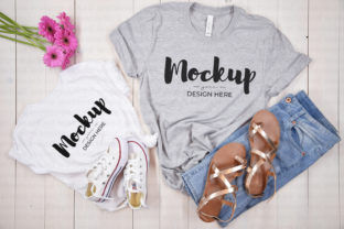 Grey & White Mommy and Me Tshirt Mockup Graphic Product Mockups By MyMockupStudio