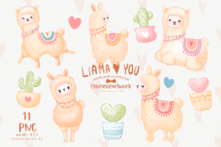 Print on Demand: Llama Clipart Bundle Graphic Crafts By Chonnieartwork