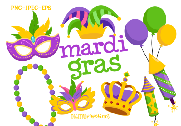 Print on Demand: Mardi Gras Clipart Set Graphic Illustrations By DigitalPapers