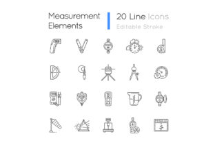 Print on Demand: Measurement Elements Linear Icons Set Graphic Icons By bsd studio