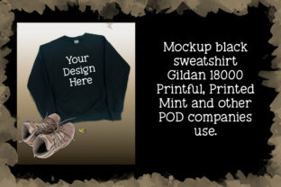 Print on Demand: Mockup Black Sweatshirt Gildan 18000 Graphic Product Mockups By A Design in Time