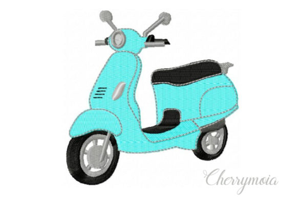 Moped Transportation Embroidery Design By CherrymoiaEmbroidery