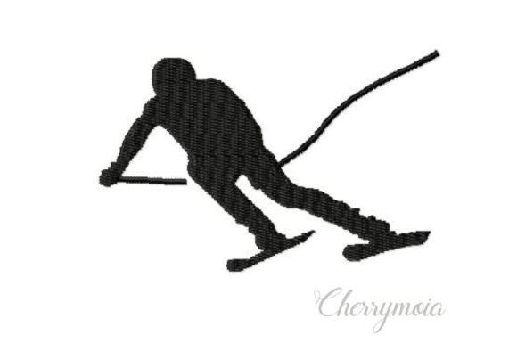 Skier Silhouette Sports Embroidery Design By CherrymoiaEmbroidery