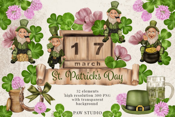 Print on Demand: St Patrick Day Clipart Leprechaun Clover Graphic Illustrations By PawStudio