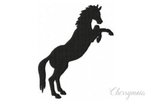 Standing Horse Silhouette Horses Embroidery Design By CherrymoiaEmbroidery