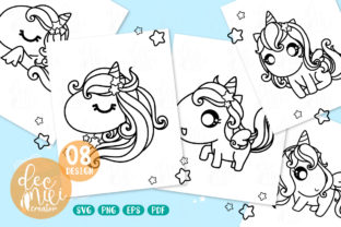Print on Demand: Unicorn Black-white : Set No.03 Graphic Coloring Pages & Books Kids By decnui.creator