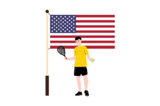 Padel Tennis Player and American Flag Sports Craft Cut File By Creative Fabrica Crafts