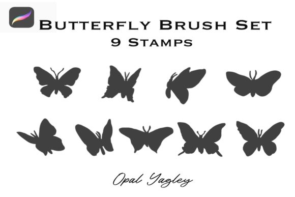 9 butterfly stamps