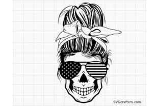 Print on Demand: American Messy Bun Svg, 4th of July Svg Graphic Crafts By SVGcrafters